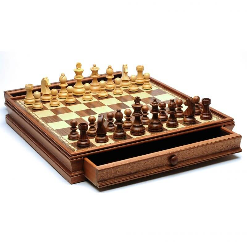 French Staunton Chess & Checkers Set – Weighted Pieces, Brown & Natural Wooden Board with Storage Drawers – 15 in. 1